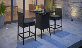 Cerveza 3 Piece Outdoor Patio Pub Set in Black
