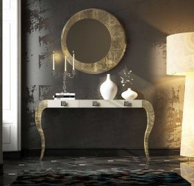 Ceuta Modern Console Table in Ivory & Champagne