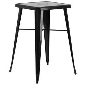 24'' Square Black Metal Indoor-Outdoor Bar Height Table [CH-31330-BK-GG]