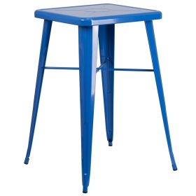 24'' Square Blue Metal Indoor-Outdoor Bar Height Table [CH-31330-BL-GG]