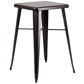 24'' Square Black-Antique Gold Metal Indoor-Outdoor Bar Height Table [CH-31330-BQ-GG]