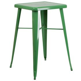 24'' Square Green Metal Indoor-Outdoor Bar Height Table [CH-31330-GN-GG]