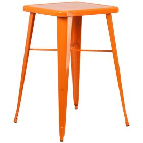24'' Square Orange Metal Indoor-Outdoor Bar Height Table [CH-31330-OR-GG]