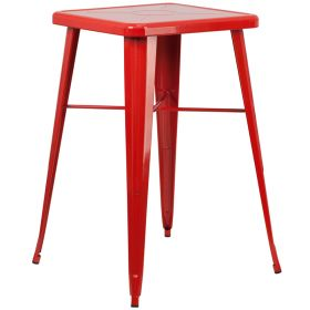 24'' Square Red Metal Indoor-Outdoor Bar Height Table [CH-31330-RED-GG]