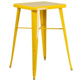24'' Square Yellow Metal Indoor-Outdoor Bar Height Table [CH-31330-YL-GG]