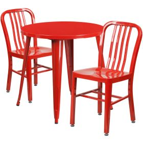 30'' Round Red Metal Indoor-Outdoor Table Set with 2 Vertical Slat Back Chairs [CH-51090TH-2-18VRT-RED-GG]