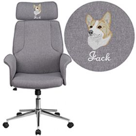 Embroidered High Back Gray Fabric Executive Swivel Chair with Chrome Base & Fully Upholstered Arms [CH-CX0944H-GY-EMB-GG]