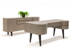 Cody Modern Office Desk Set in Light Gray Veneer