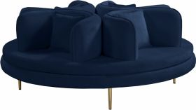 Macon Contemporary Velvet Roundabout Sofa in Navy