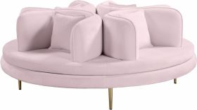 Macon Contemporary Velvet Roundabout Sofa in Pink