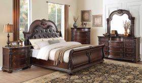 Civita Traditional Bedroom Set in Dark Cherry