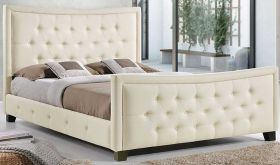 Claire Contemporary Queen Bed in Ivory