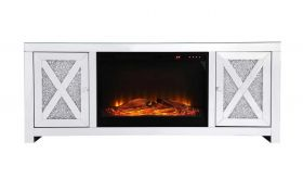 "Clifton 59"" Crystal Mirrored TV Stand with Wood Log Insert Fireplace in White"