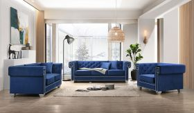 Clover Traditional Living Room Set in Blue