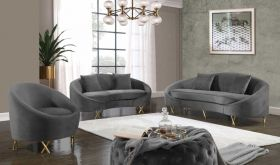 Collodi Contemporary Living Room Set in Gray