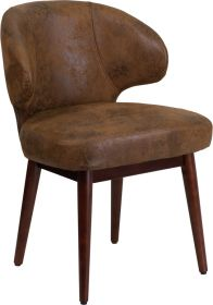 Comfort Back Series Bomber Jacket Microfiber Reception-Lounge-Office Chair with Walnut Legs [BT-5-BOM-GG]