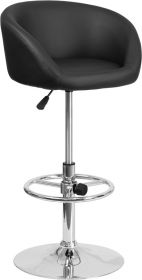 Contemporary Black Vinyl Adjustable Height Barstool with Chrome Base [CH-TC3-1066L-BK-GG]