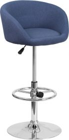 Contemporary Blue Fabric Adjustable Height Barstool with Chrome Base [CH-TC3-1066L-BLFAB-GG]