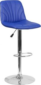 Contemporary Blue Vinyl Adjustable Height Barstool with Chrome Base [DS-8220-BL-GG]