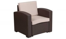 Contemporary Faux Rattan Chair with All-Weather Cushion in Chocolate Brown