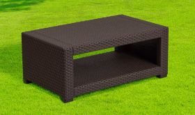 Contemporary Faux Rattan Coffee Table in Chocolate Brown