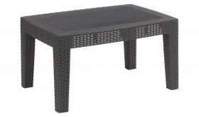 Contemporary Faux Rattan Coffee Table in Dark Gray