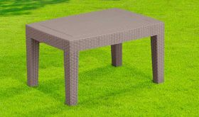 Contemporary Faux Rattan Coffee Table in Light Gray