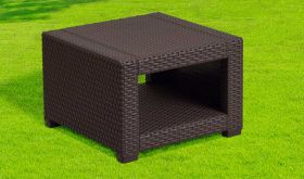Contemporary Faux Rattan End Table in Chocolate Brown