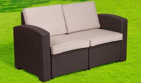 Contemporary Faux Rattan Loveseat with All-Weather Cushion in Chocolate Brown