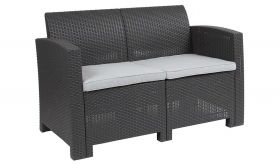 Contemporary Faux Rattan Loveseat with All-weather Cushions in Dark Gray
