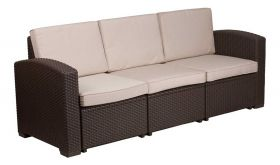 Contemporary Faux Rattan Sofa with All-Weather Cushion in Chocolate Brown