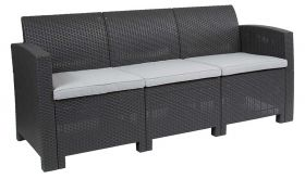 Contemporary Faux Rattan Sofa with All-weather Cushions in Dark Gray