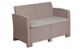 Contemporary Faux Rattan Sofa with All-weather Cushions in Light Gray