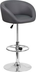 Contemporary Gray Vinyl Adjustable Height Barstool with Chrome Base [CH-TC3-1066L-GY-GG]