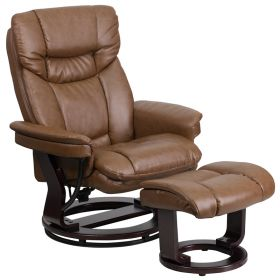 Contemporary Palimino Leather Recliner and Ottoman with Swiveling Mahogany Wood Base [BT-7821-PALIMINO-GG]