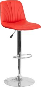 Contemporary Red Vinyl Adjustable Height Barstool with Chrome Base [DS-8220-RED-GG]