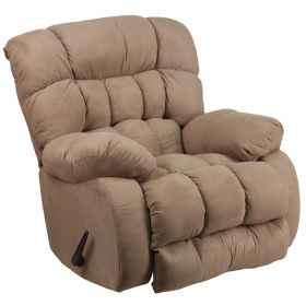 Contemporary Softsuede Taupe Microfiber Rocker Recliner [WM-9200-532-GG]