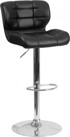 Contemporary Tufted Black Vinyl Adjustable Height Barstool with Chrome Base [SD-SDR-2510-BK-GG]
