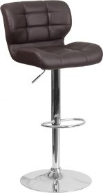 Contemporary Tufted Brown Vinyl Adjustable Height Barstool with Chrome Base [SD-SDR-2510-BRN-GG]