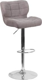 Contemporary Tufted Gray Fabric Adjustable Height Barstool with Chrome Base [SD-SDR-2510-GY-FAB-GG]