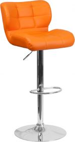 Contemporary Tufted Orange Vinyl Adjustable Height Barstool with Chrome Base [SD-SDR-2510-OR-GG]