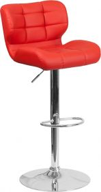 Contemporary Tufted Red Vinyl Adjustable Height Barstool with Chrome Base [SD-SDR-2510-RED-GG]