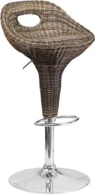 Contemporary Wicker Adjustable Height Barstool with Chrome Base [DS-713-GG]