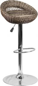 Contemporary Wicker Rounded Back Adjustable Height Barstool with Chrome Base [DS-716-GG]
