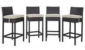 Convene 4 Piece Outdoor Patio Pub Set in Espresso Beige