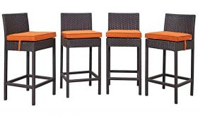 Convene 4 Piece Outdoor Patio Pub Set in Espresso Orange