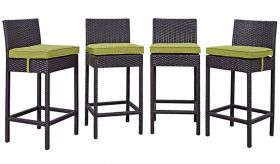 Convene 4 Piece Outdoor Patio Pub Set in Espresso Peridot