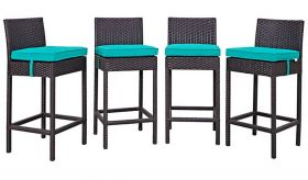 Convene 4 Piece Outdoor Patio Pub Set in Espresso Turquoise
