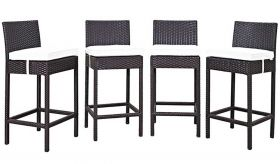 Convene 4 Piece Outdoor Patio Pub Set in Espresso White