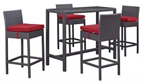 Convene 5 Piece Outdoor Patio Pub Set in Espresso Red